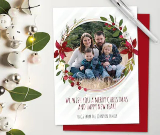 Photo Christmas Cards Poinsettia Round Holiday Card Printed Or Printable