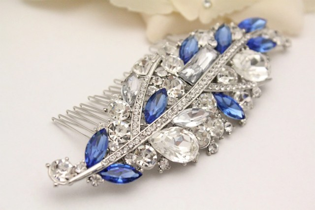blue bridal hair comb,royal blue wedding hairpiece