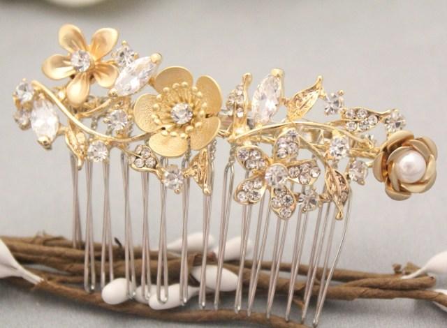 bohemian wedding hair accessories gold hair comb for bridesmaid hair clip rhinestone hair comb prom hair piece boho bridal hair comb wedding