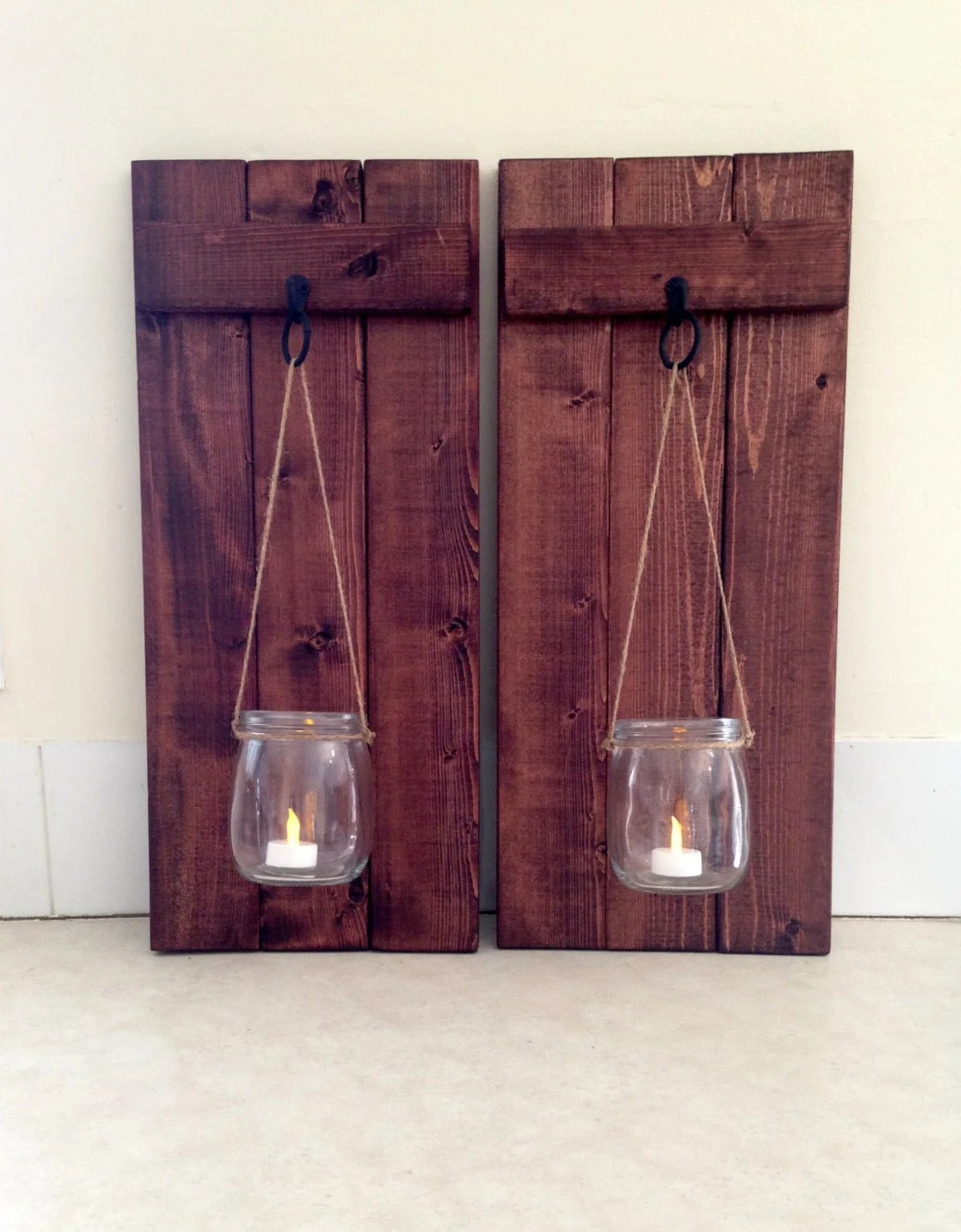 Rustic Wall Decor Wooden Candle Holder Mason Jar Candle on Decorative Wall Sconces Candle Holders Centerpieces Ebay id=42679