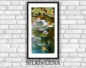 Acrylic Painting Koi Fish painting Fine Art Print Of Original SILK PAINTING Giclee Art Print  Lotus Painting  Koi Fish Art
