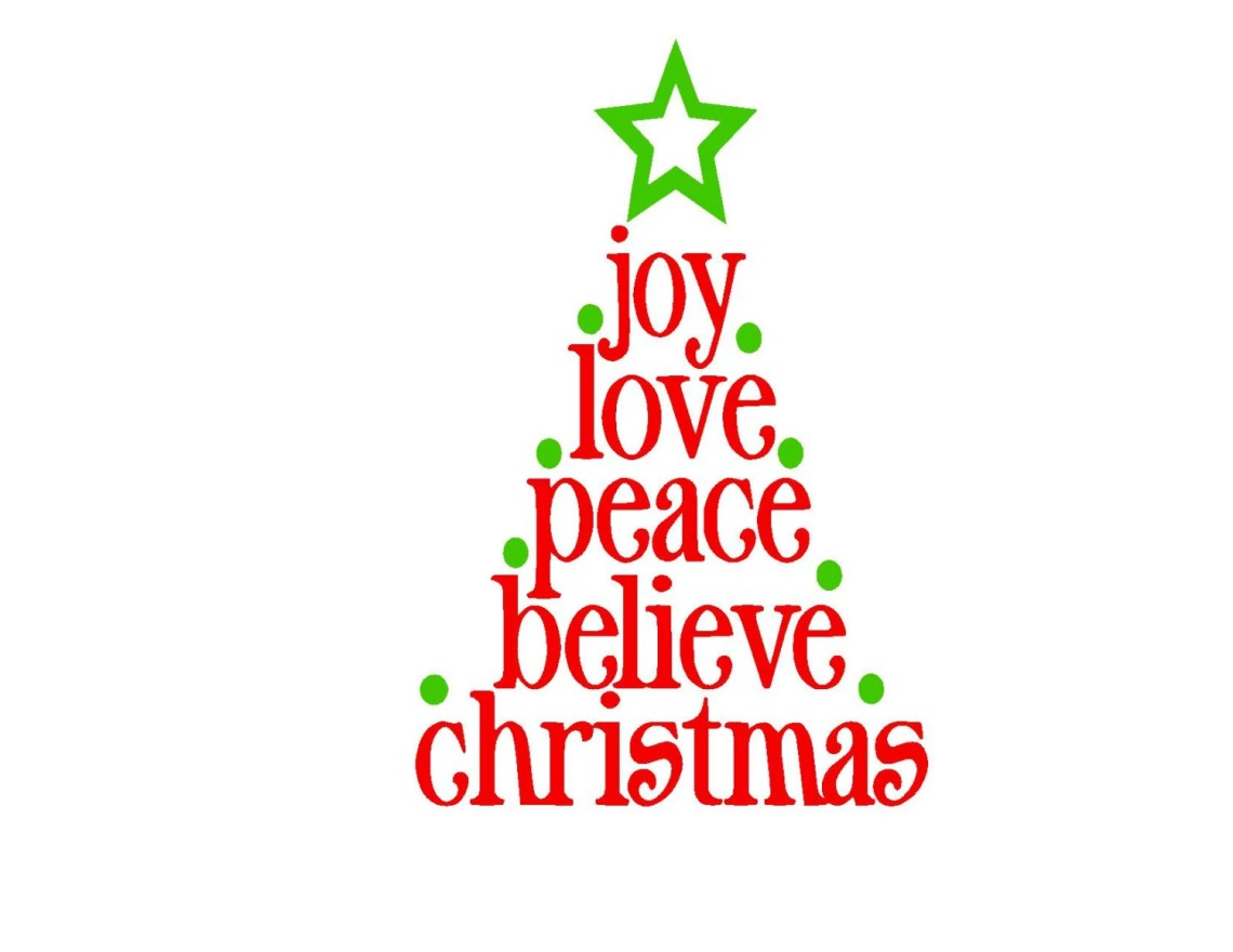 Download Joy Love Peace Believe Christmas Script SVG or Silhouette ...