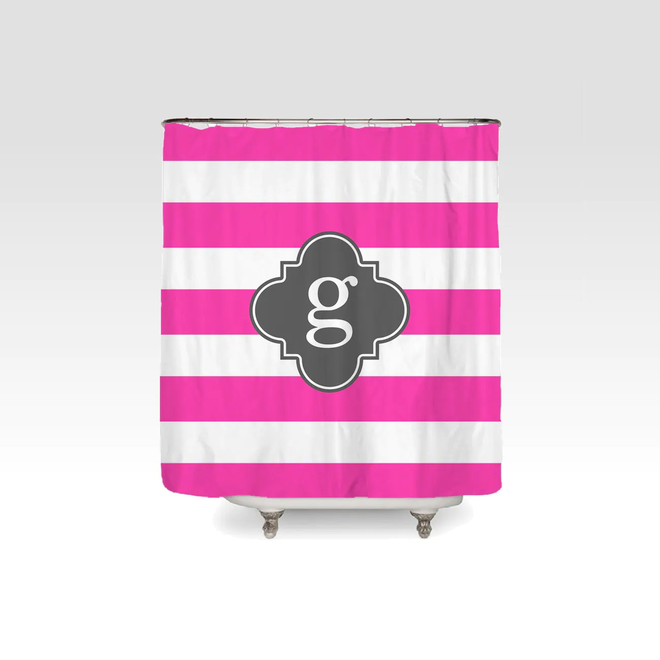 Personalized Horizontal Stripe Shower Curtain Striped Preppy Pick Colors And Font Kids Shower Curtain Dorm Shower Curtain