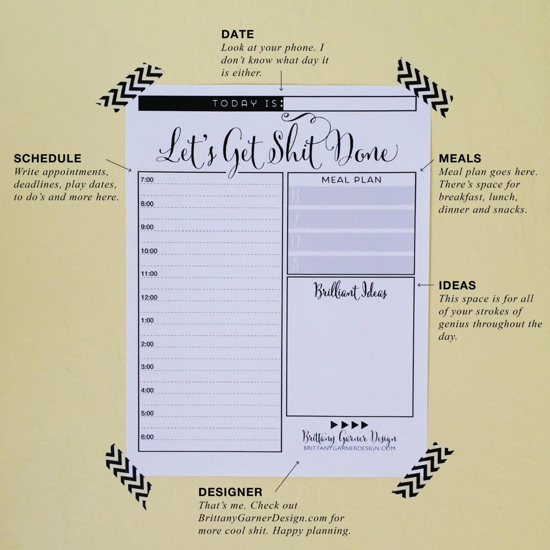 Daily Planner Get Sht Done Digital Download Printable
