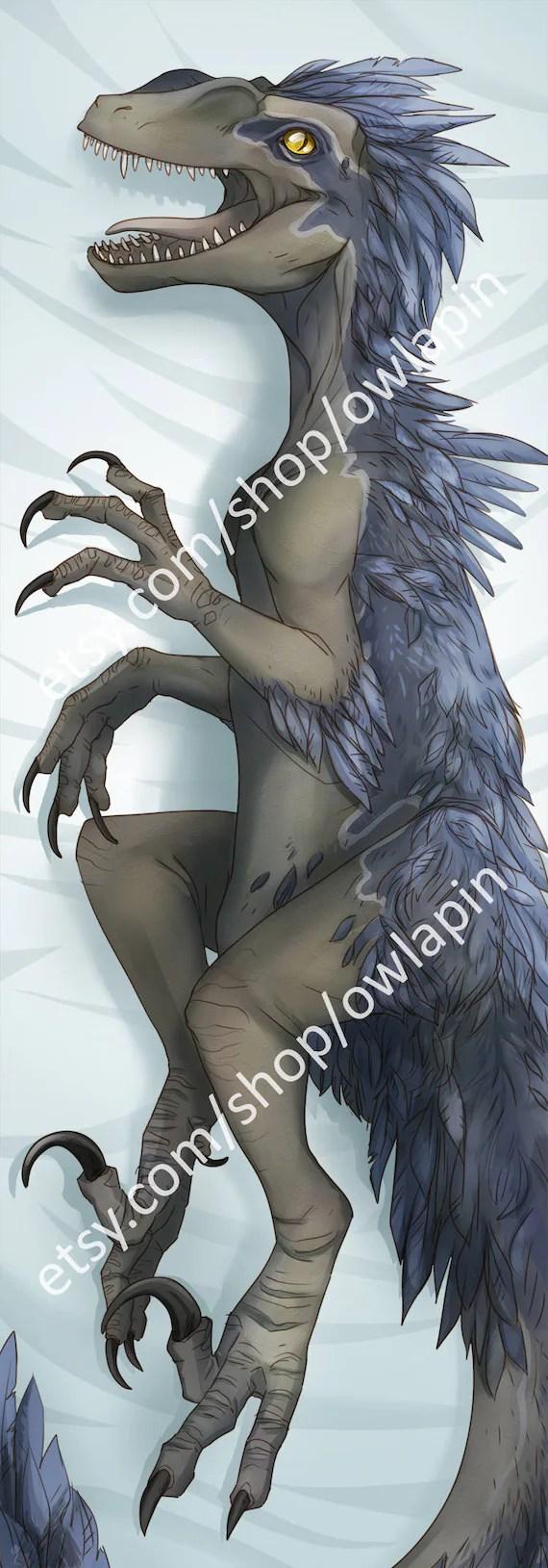 raptor jurassic park dinosaur body pillow case