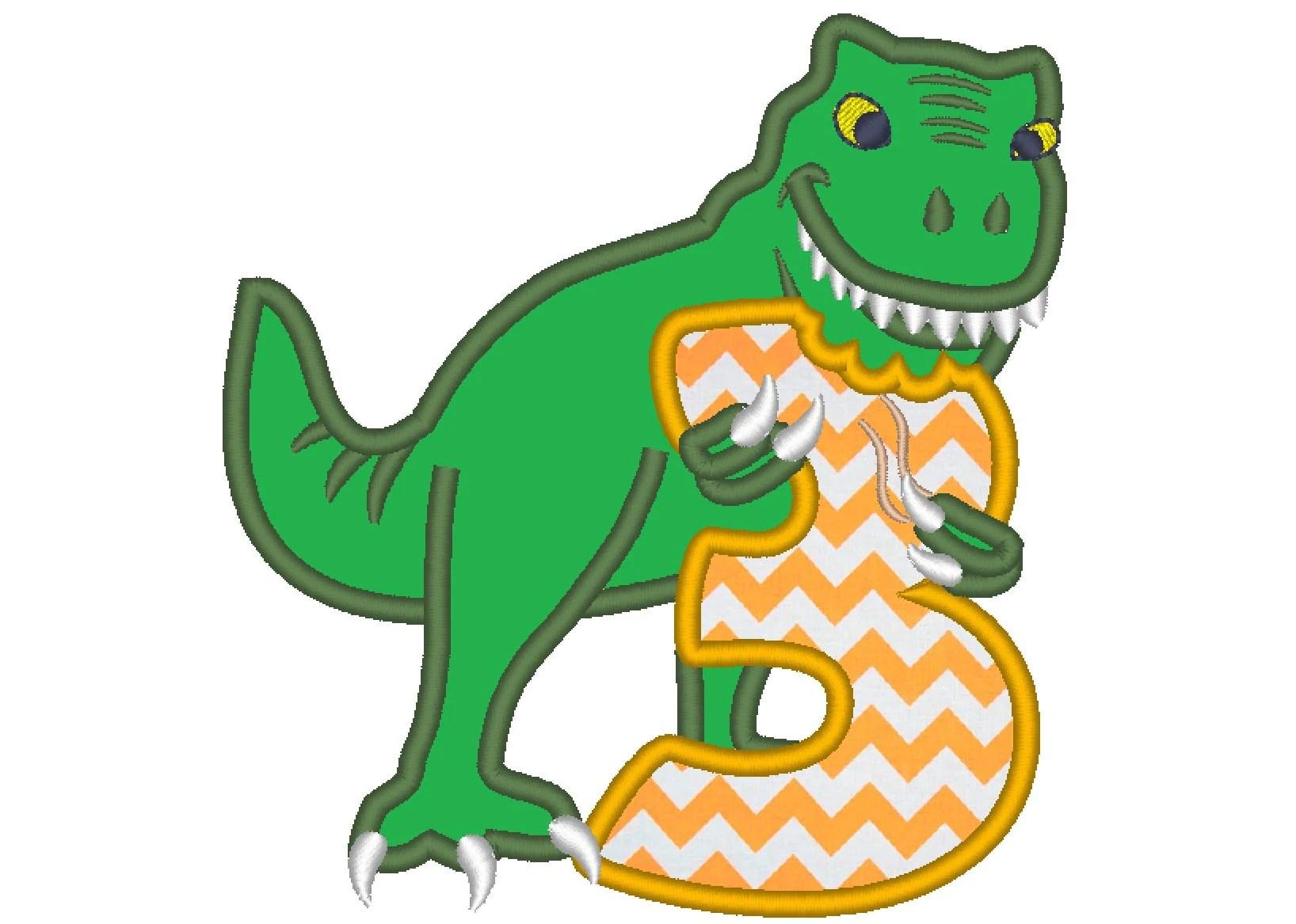 T Rex Dinosaur Birthday Number Three 3 Machine Embroidery