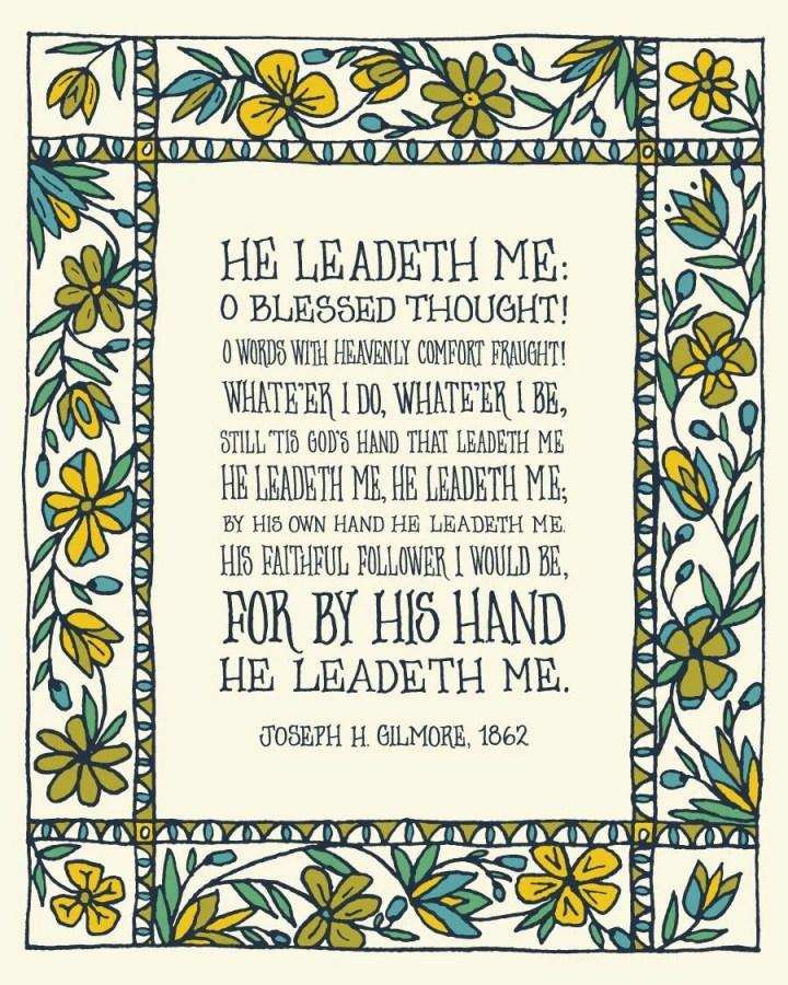 He Leadeth Me floral chri...