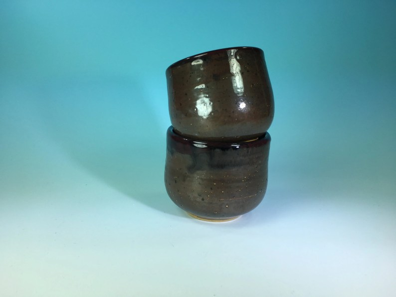 Pair of Ceramic Tea Bowls or Tea Cups // Handleless Tea Cups in Dark Copper Black with Sparkles // Tea for Two - READY TO SHIP