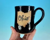 Ohio Mug in Black // Handmade Ceramic Mug // Gifts  for Ohioans, Travelers or College Students - READY TO SHIP