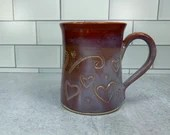 Red and Purple Mug with Carved Heart Detail // Valentines Day // Hearts // Love // Wheel-Thrown - READY TO SHIP