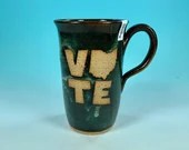 Tall Narrow Vote Ohio Mug in Blue // Handmade Ceramic Mug // Gifts  for Ohioans, Travelers or College Students - READY TO SHIP
