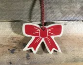Ornament - Bow - Ceramic - Personalize it! – READY TO SHIP