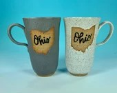 Tall Narrow Ohio Mug in White or Gray // Handmade Ceramic Mug // Gifts  for Ohioans, Travelers or College Students - READY TO SHIP