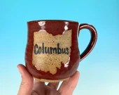 Columbus, Ohio Mug in Red // Handmade Ceramic Mug // Gifts  for Ohioans, Travelers or College Students - READY TO SHIP