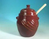 Honey Pot with Wooden Dipper in Red // Carved Handmade Pottery Honey Jar // Housewarming or Wedding Gifts - READY TO SHIP