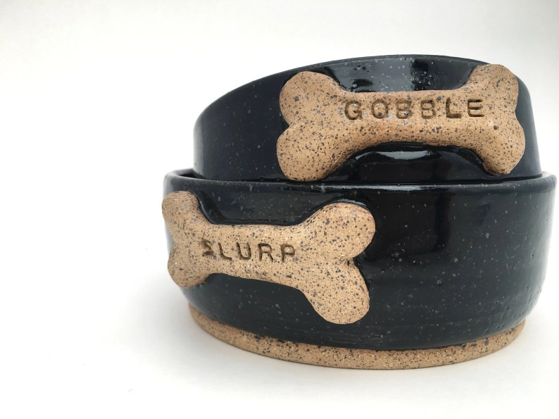 "Black Dog Bowls with ""Gobble"" and ""Slurp"" Bone // Small Handmade Dog Food Dish // Gifts for Dogs or Dog Lovers - READY TO SHIP"