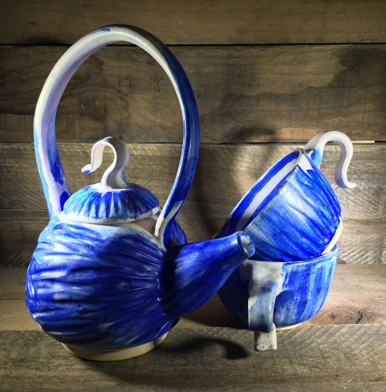 Handmade Tea Set, Pottery in White and Cobalt Blue // Tea Service for Two // Functional Ceramic Tea Set  - READY TO SHIP