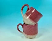 Two-Tone Color Dip Mug in Pink and White // Handmade // for Coffee, Cocoa & Tea Lovers // Microwave / Dishwasher Safe - READY TO SHIP