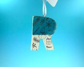 Ornament - R - Ceramic Initial / Alphabet Letter Ornament / Monogram - READY TO SHIP