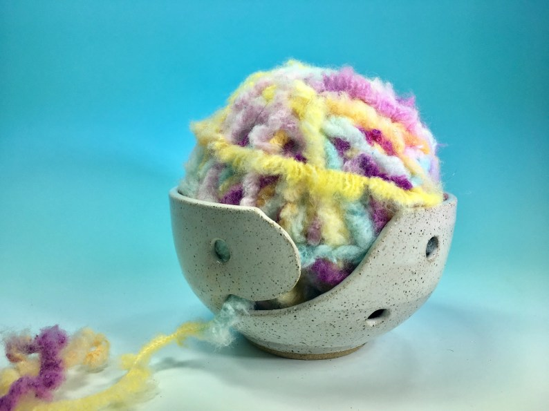 Yarn Bowl in White //Handmade Wheelthrown Ceramic Yarn Bowl for Knitting, Crochet and General Crafts // Gift for Crafters - READY TO SHIP