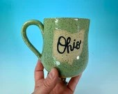 "Ohio Mug in Turquoise // Handmade Ceramic Mug with ""Ohio"" // Gifts  for Ohioans, Travelers or College Students - READY TO SHIP"