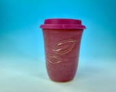 Carved Leaf Travel Mug in Pink // Handmade // for Coffee, Cocoa & Tea Lovers // Microwave and Dishwasher Safe - READY TO SHIP