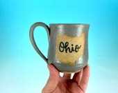 "Ohio Mug in Gray Matte // Handmade Ceramic Mug with ""Ohio"" // Gifts  for Ohioans, Travelers or College Students - READY TO SHIP"