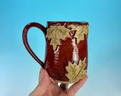 Falling Leaves mug in Red // wheel-thrown fall mug with sculpted leaf detail // harvest, autumn leaves - READY TO SHIP