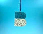 Ornament - B - Ceramic Initial  / Alphabet Letter Ornament / Monogram - READY TO SHIP