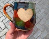 Heart and Rainbow Mug // Heart mug in rainbow glaze // Handmade Ceramic Mug // Spring // Pride // Love - READY TO SHIP