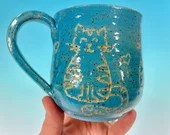 Cat Doodle Mug // Handmade Ceramic Mug with Carved Kitties in Bright Blue // Gifts for Cat Lovers - READY TO SHIP