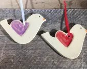 Handmade Ceramic Bird Ornament with Heart Wing – READY TO SHIP