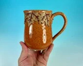 Falling Leaves mug in Orange // wheel-thrown fall mug with sculpted leaf detail // harvest, autumn leaves - READY TO SHIP