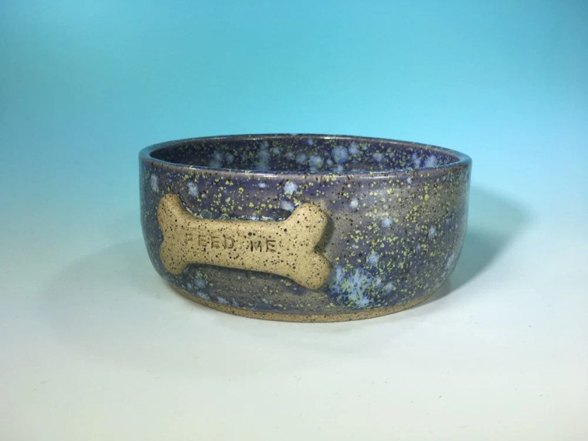 Dog Bowl in Purple and Go...
