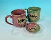 Personalized wedding mug set with ring dish // custom made gift for bride and groom // Gifts for Weddings - MADE TO ORDER
