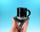 One miniature teacup and saucer // black tea cups // Children's tea cups and saucers - READY TO SHIP