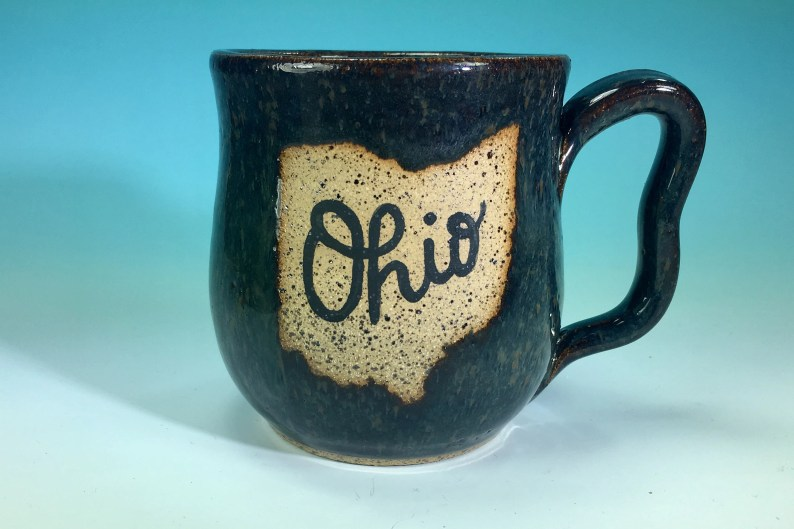 """Ohio Mug in Denim Blue // Handmade Ceramic Mug with """"Ohio"""" // Gifts  for Ohioans, Travelers or College Students - READY TO SHIP"""