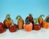 Small orange Ceramic pumpkins // Decorative stoneware pumpkins // wheel thrown handmade pumpkin - READY TO SHIP