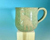 Dinosaur Silhouette Mug in Turquoise // Handmade Mug with T-Rex Silhouette // Gifts for Geeks, Historians, Dinosaur Lovers - READY TO SHIP