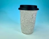 Carved Leaf Travel Mug Mug in White // Handmade // for Coffee, Cocoa & Tea Lovers // Microwave and Dishwasher Safe - READY TO SHIP