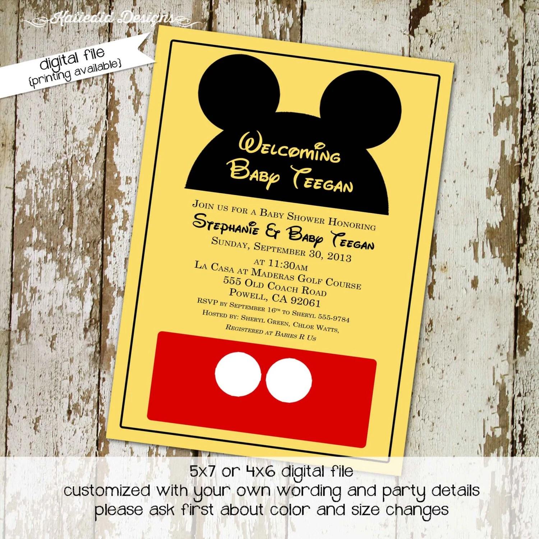 disney baby shower invitation mickey