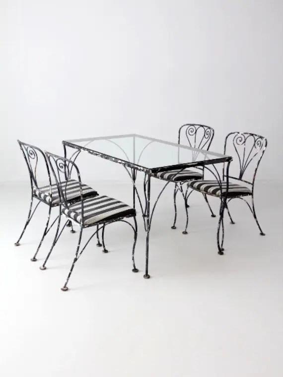 vintage wrought iron patio furniture metal outdoor furniture etsy