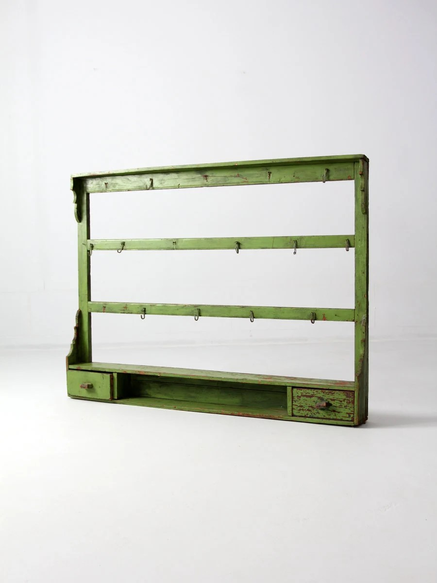 Antique Kitchen Rack Wood Wall Shelf Painted Wood Shelves
