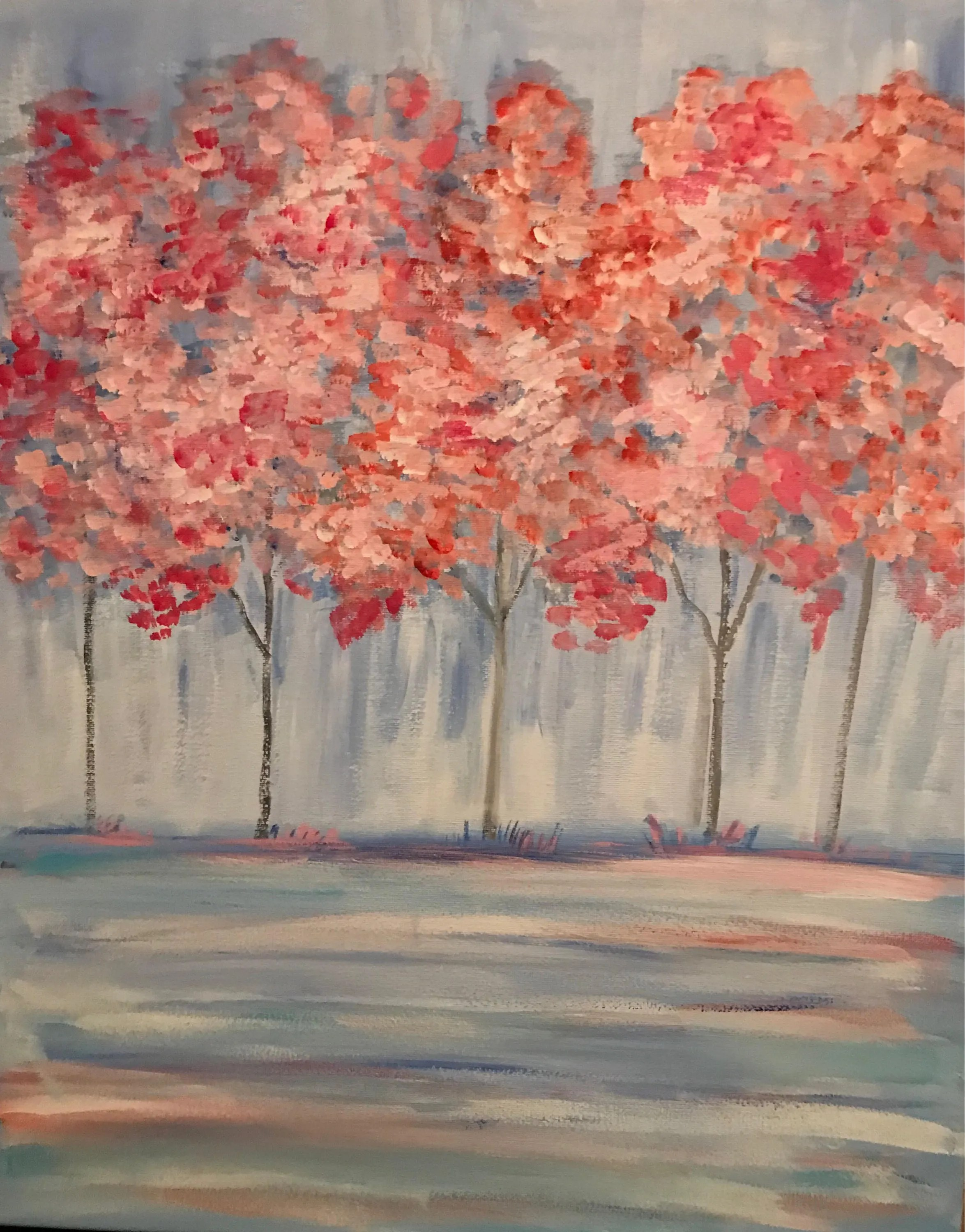 Country Home Decor Wall Art Landscape Painting Pink Trees Contemporary Tree Wall Decor