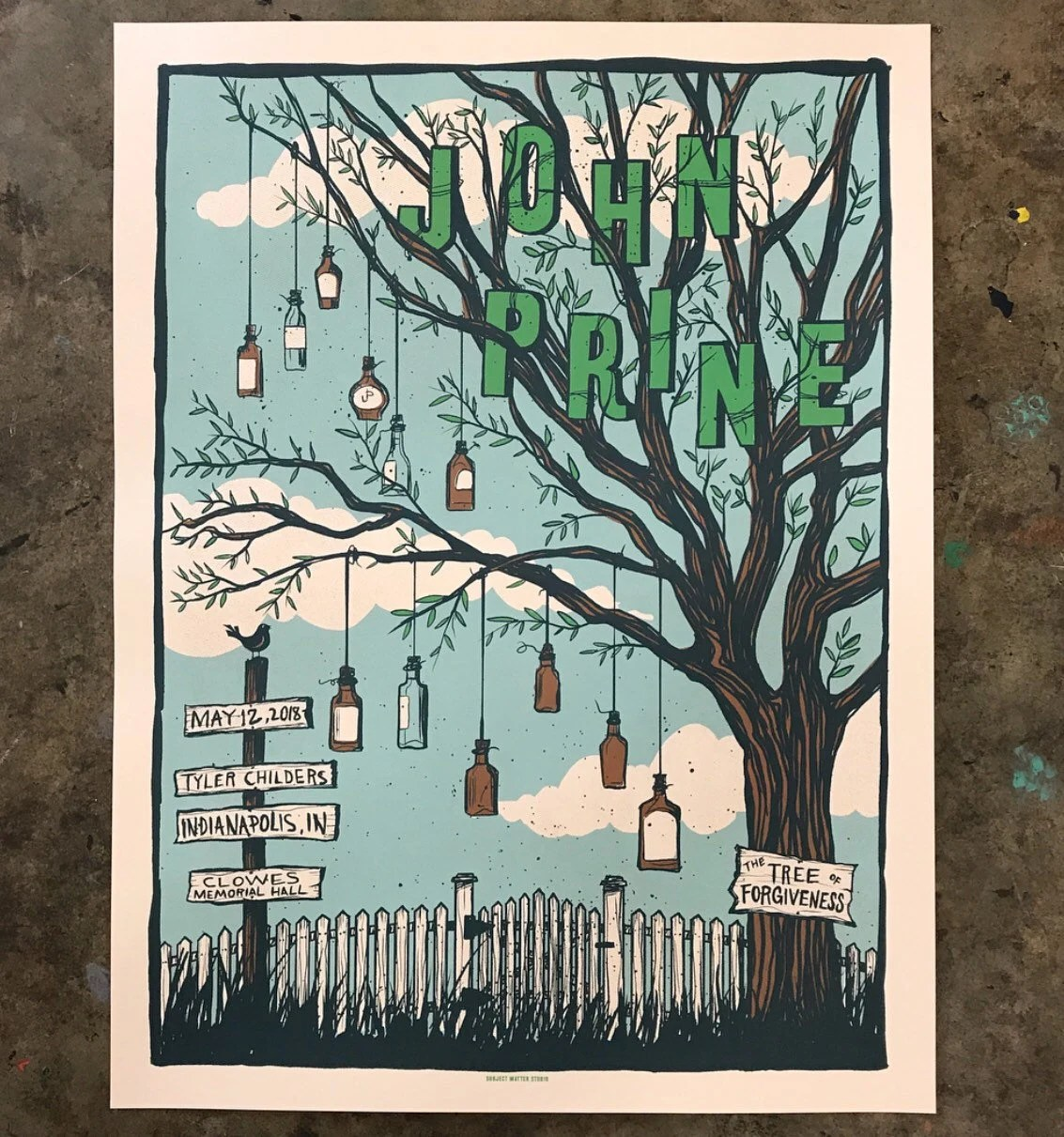 john prine official limited edition screen printed concert poster indianapolis in