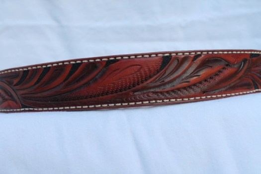 handmade leathger dress belt finished in British tan and highlighted