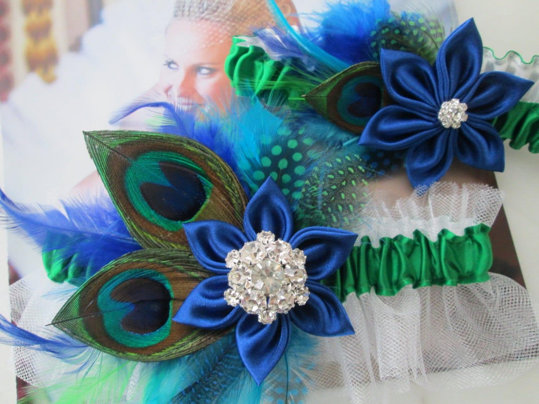 Peacock WEDDING Garter Set Royal Blue Bridal Garter Kelly