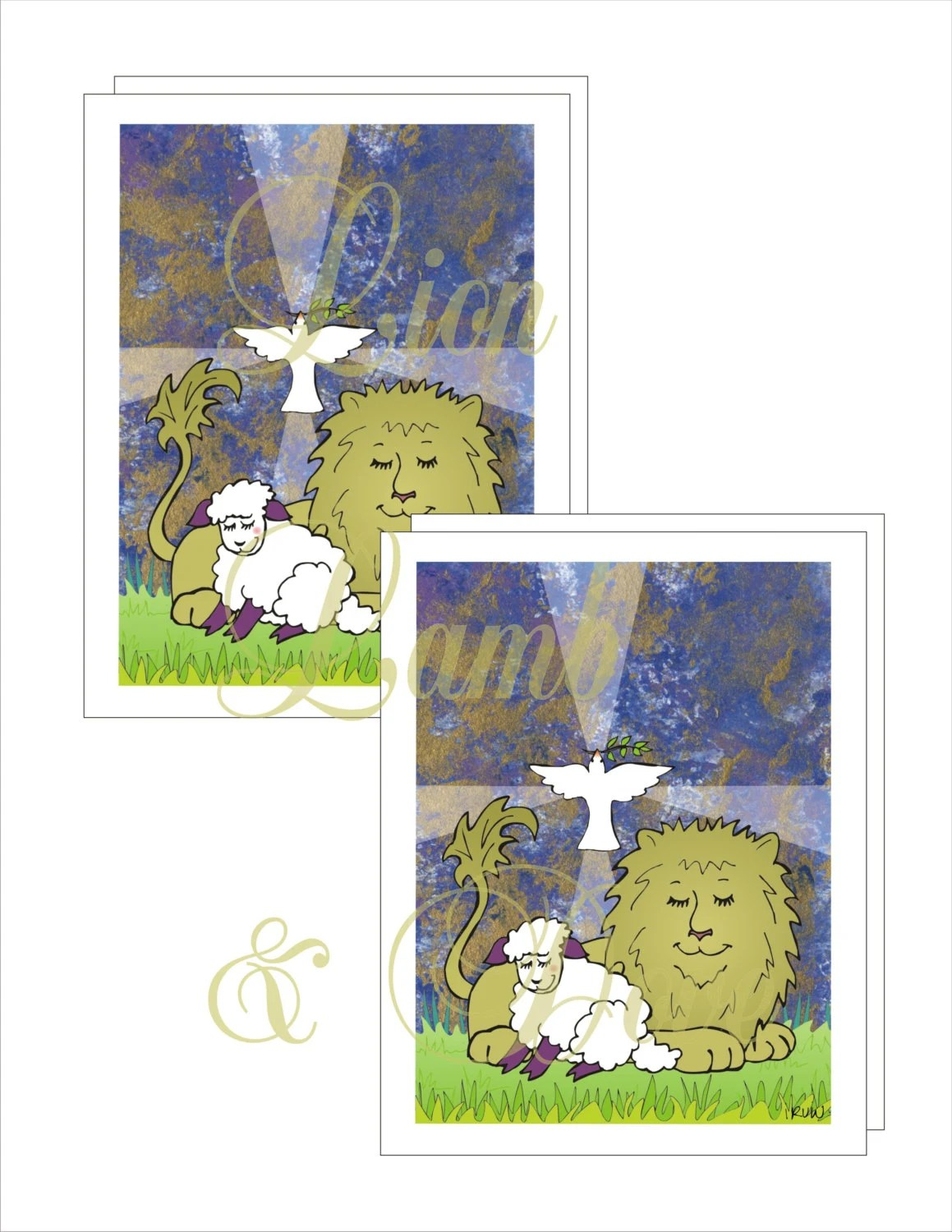 Lion Lamb And Dove Note Cards With Printable Envelope