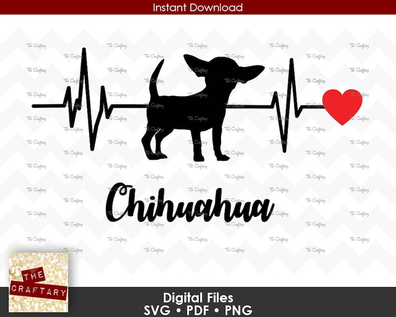 Download Chihuahua Love Heart Heartbeat SVG File | Etsy