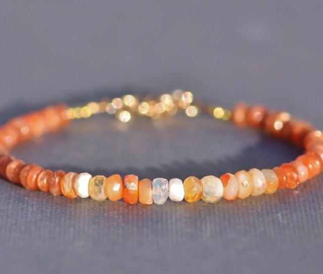 Grade Aa Oregon Sunstone Mexican Opal Braceletgolden Orange Mexican Fire Opal Gemstone Rondelle Braceletgold Filledstackingminimalist